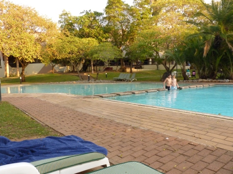 The pool area at Sanbonani