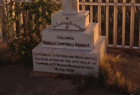 Colonel Hannay's Grave at the spot where he fell