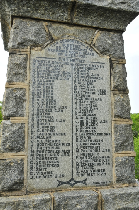 The Burghers who were murdered along with Piet Retief
