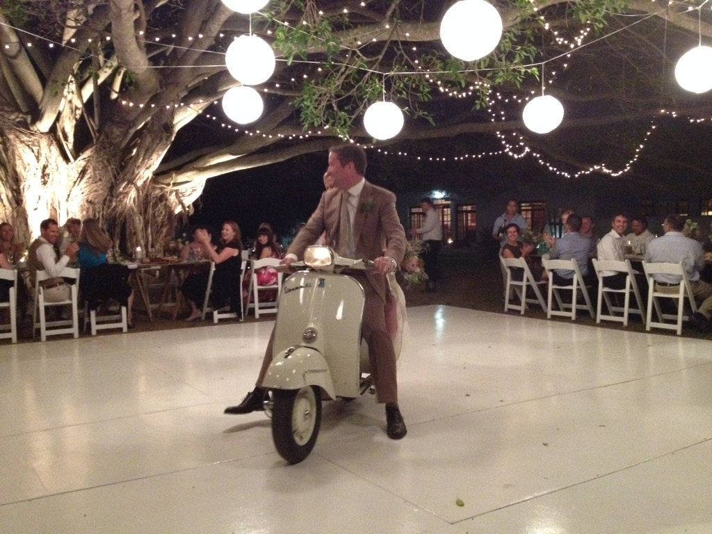 Louis and Amelda arrive at the reception in style
