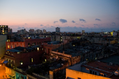 The roofscape in the evening