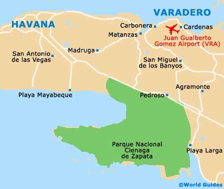 Zapata peninsula lies south east of Havana