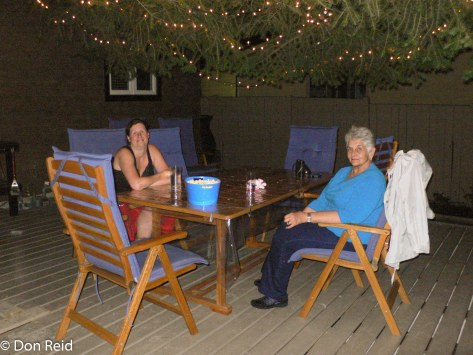 Sarah and Gerda chilling on the deck