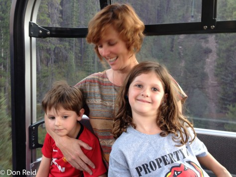 Rachel with Rio and Cassie in the gondola