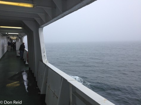 Misty outlook from the ferry from Digby to St Johns across the Bay of Fundy