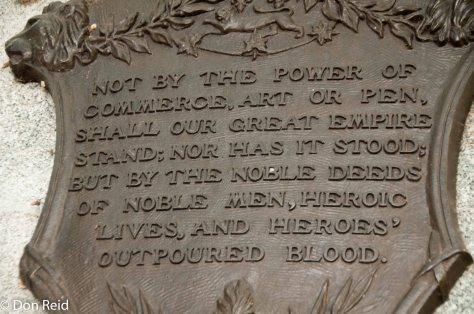 Inspiring words at the War Memorial, Quebec City