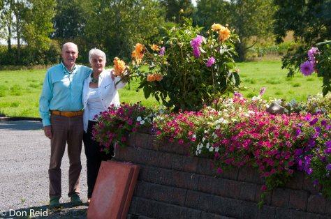 John and Gerda checking out the dahlias