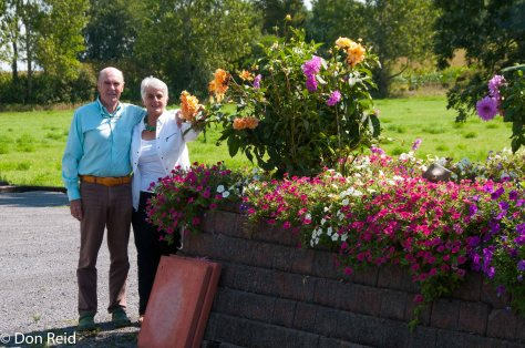 John and Gerda checking out the dahlias