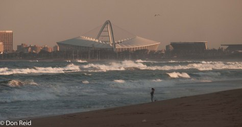 La Lucia beach with the Moses Madiba stadium in the background - built for the 2010 World Soccer Cup