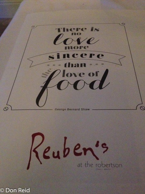 Dinner at Reubens in Robertson