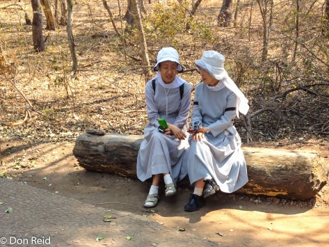 Asian Nuns enjoying Victoria Falls