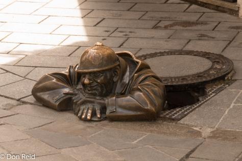 "Bratislava old town. ""Man at work"""