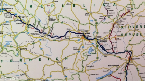 Cruise route map - Passau to Budapest and back